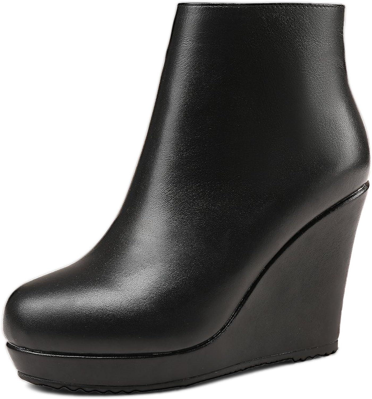 ANNIEschuhe Leder Leder Stiefeletten Damen Keilabsatz Ankle Stiefel Plateau  Kunden zuerst