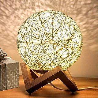 INJUICY Lampe de Table de, Rotin Lumière de Nuit Lune, Nuit Chevet avec Base en Bois (Jaune, Interrupteur à Bouton)