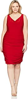 Women's Plus-Size Rouched Sweetheart Neckline Stretch Ity Bodycon Dress