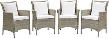 Modway EEI-4028-LGR-WHI Conduit Outdoor Patio Wicker Rattan Dining Armchair Set of 4, Light Gray White