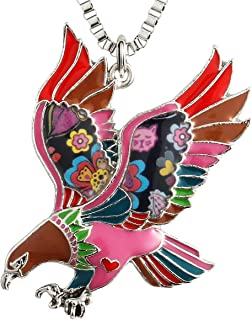 Luckeyui Unique US Eagle Necklaces Gifts for Women Girls Colorful Enamel Hawk Charm Pendants Jewelry