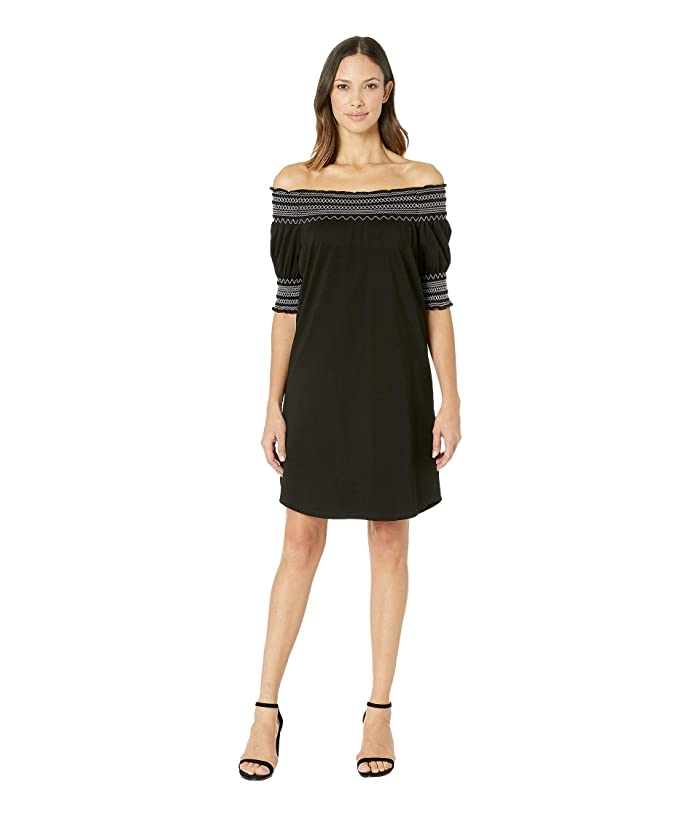 Tribal Soft Jersey Smocked Sleeve Dress (Black) Women