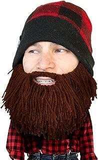 Beard Head Plaid Lumberjack Beard Beanie -Funny Knit Hat and Fake Beard Facemask
