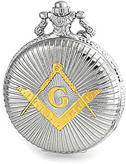 Master Masonic Quartz Mens Pocket Watch Freemason Two Tone Silver Plating Gold Plating with Chain