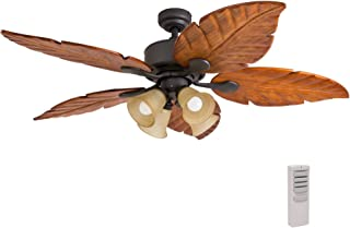 Prominence Home 41301 Bali Breeze Ceiling Fan with Remote Control, Artisan Hand-Carved Wooden Blades, Tropical Style, 52