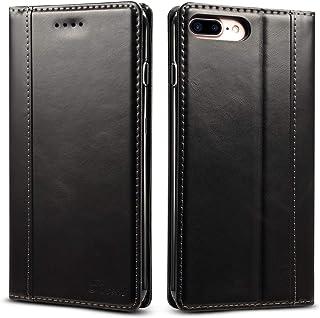 iPhone8 plus ケース 手帳型 本革 iphone7plus 良い触り心地 アイフォン8plusカバー 財布型 アイホン7プラス マグネット式 横置き機能 カード収納 Ayakumo 7プラス/8プラス用 ブラック -5d27-