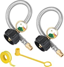 """1/4"""" NPT RV Propane Hose with Gauge Set, 12 Inch Stainless Steel Braided RV Pigtail Propane Hose Connector for Standard 2-Stage Regulator with 1/4"""" Female NPT Inlet, 2 Pack"""