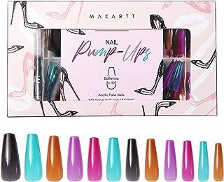 Makartt Acrylic Nail Kit, Press On Nails Set Long Ballerina Nail Tips Full Cover Vivid Color 4pcs Nail Glues 1pcs Nail Fil...