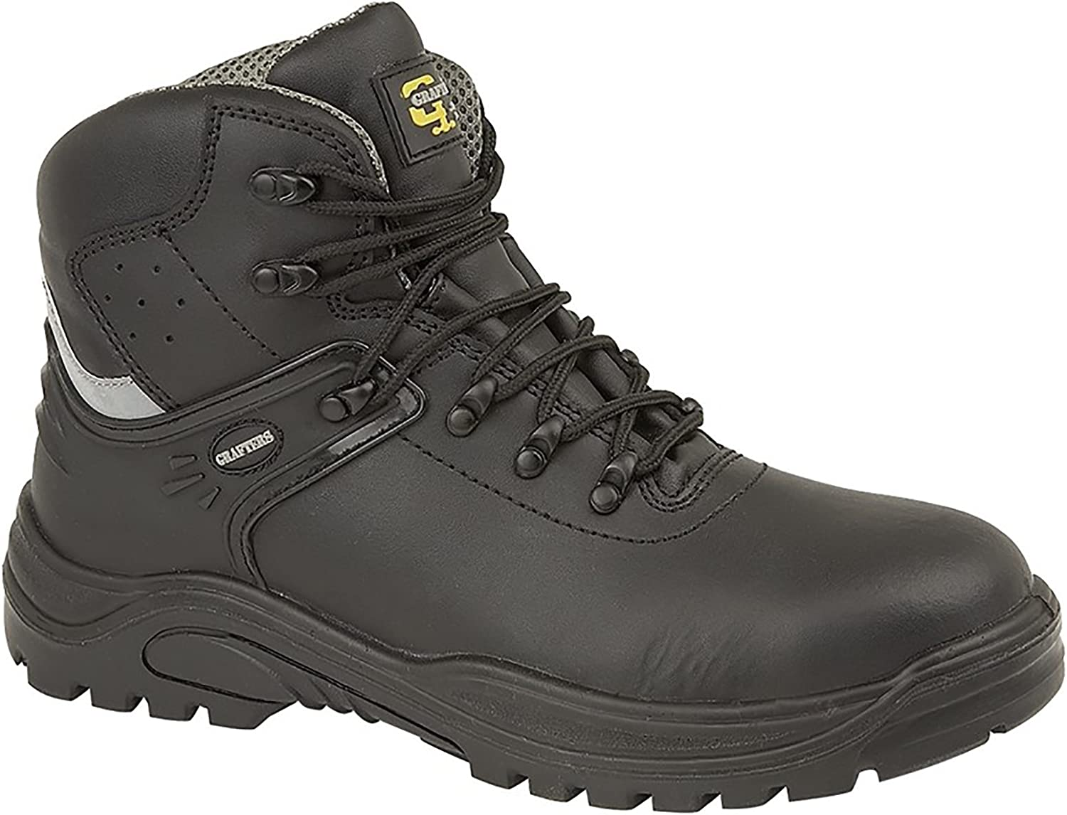 Grafters Transporter Unisex Leather Safety Boots Black Grey