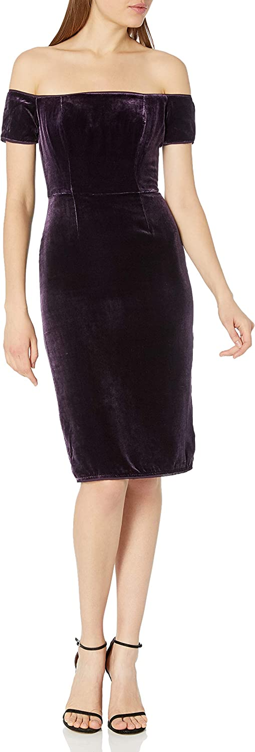 BCBGMax Azria Womens Karen Woven Crushed Velvet Off The Shoulder Dress