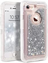 iPhone 8 Case, iPhone 7 Case, iPhone 6s Case, Dexnor Glitter 3D Bling Sparkle Flowing Liquid Case for Girls Transparent 3 in 1 Shockproof TPU Silicone + PC Case Cover for iPhone 8/7/6s/6 - Silver