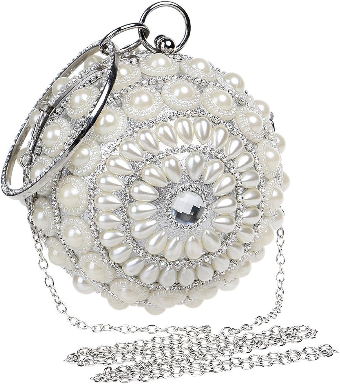 GXYCP Kugelförmige Perle Abendtasche Partei Nachtclub Nachtclub Nachtclub Handtasche Frauen Mode Umhängetasche Handy Kosmetiktasche,Weiß B07FQRL1RD  eine breite Palette von Produkten abb697