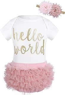 CHICTRY 3 PCS Newborn Baby Girl Hello World Romper Jumpsuit + Ruffles Shorts Pants Outfits Set