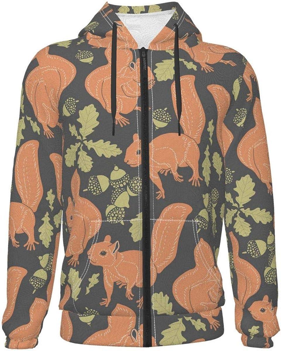 X-Peach Squirrel Eat Chestnut Kids & Youth Full-Zip Fleece Hoodie Boys Athletic Hooded Sweatshirt Jacket Pockets