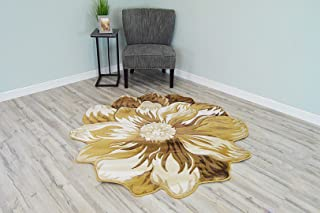 Flowers 3D Effect Hand Carved Thick Artistic Floral Flower Rose Botanical Shape Area Rug Design 305 Beige Cream 2'7''x2'7'' Round