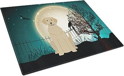 Caroline's Treasures BB2245LCB Halloween Scary Yellow Labrador Glass Cutting Board, Large, Multicolor [並行輸入品]