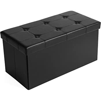SONGMICS 30 Inches Faux Leather Folding Storage Ottoman Bench, Storage Chest Footrest Coffee Table Padded Seat, Black