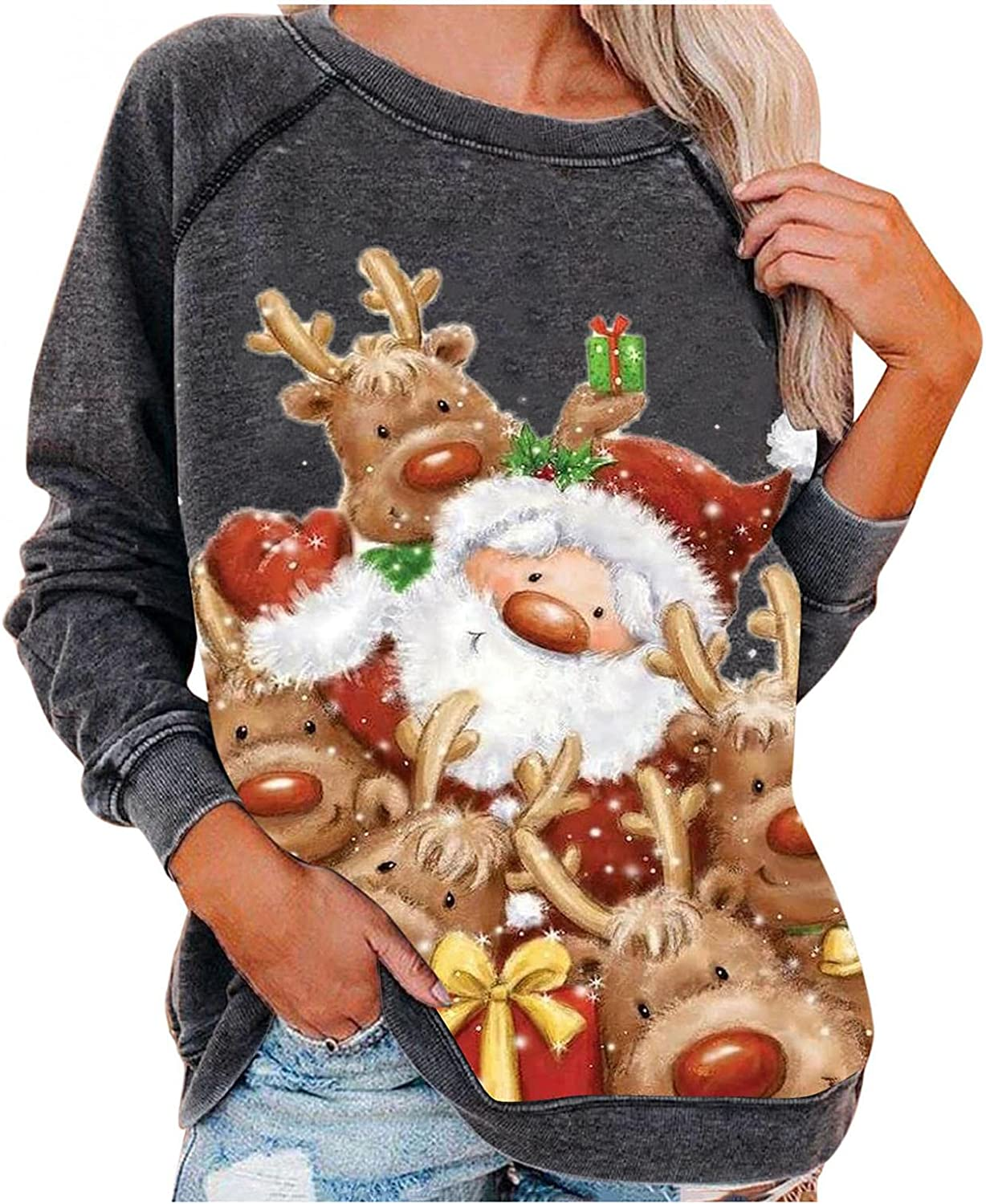 2021 autumn and winter new shopping DZQUY Womens Christmas Movies Watching Reindeer Shirt Xmas Tree