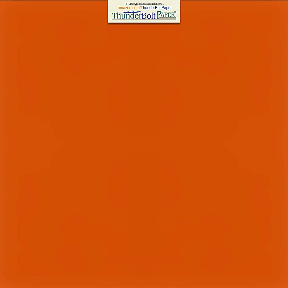 25 Darker Bright Orange Cover/Card Paper Sheets - 12 X 12 Inches Scrapbook Album|Cover Size - 65# (65 lb/Pound) Light Weight Cardstock - Quality Printable Smooth Paper Surface