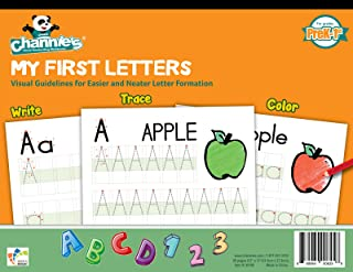 "Channie's My First Letters, Easy to Trace, Write, Color, and Learn Alphabet Practice Handwriting & Printing Workbook, 80 Pages Front & Back, 40 Sheets, Grades PreK - 1st, Size 8.5"" x 11"""