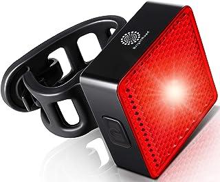 BrightRoad Luz trasera para bicicleta, recargable por USB, luz trasera LED ultra brillante de 40 lúmenes, sensor de encend...