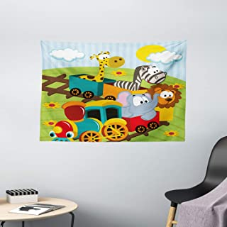 """Ambesonne Animal Tapestry, Cartoon Baby Safari Wild Animals in a Train with Striped Backdrop Toys Artwork Print, Wide Wall Hanging for Bedroom Living Room Dorm, 60"""" X 40"""", Blue Green"""