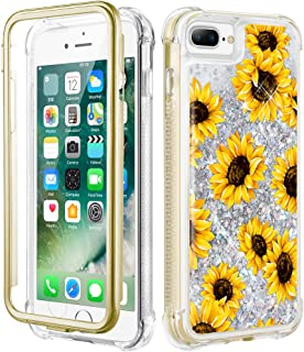 Caka iPhone 8 Plus Case, iPhone 7 Plus Floral Glitter Full Body Case Built in Screen Protector Clear Flower Bling Sparkle Floating Girly Cute Liquid Case for iPhone 7 Plus 8 Plus (Sunflower)