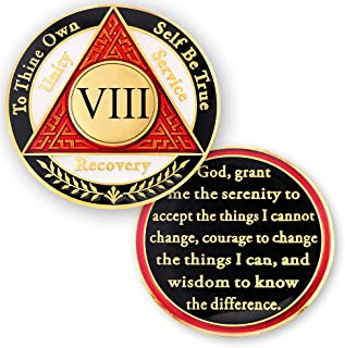 8 Year AA Medallions Sobriety Coin - Alcoholics Anonymous Chips - Eight Year Coins - Red White Black Token
