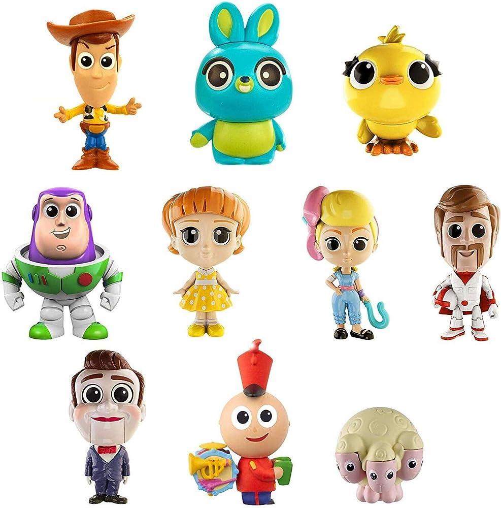 Toy story, minis disney pixar mini personaggi da collezione,confezione da 10 personaggi GCY86