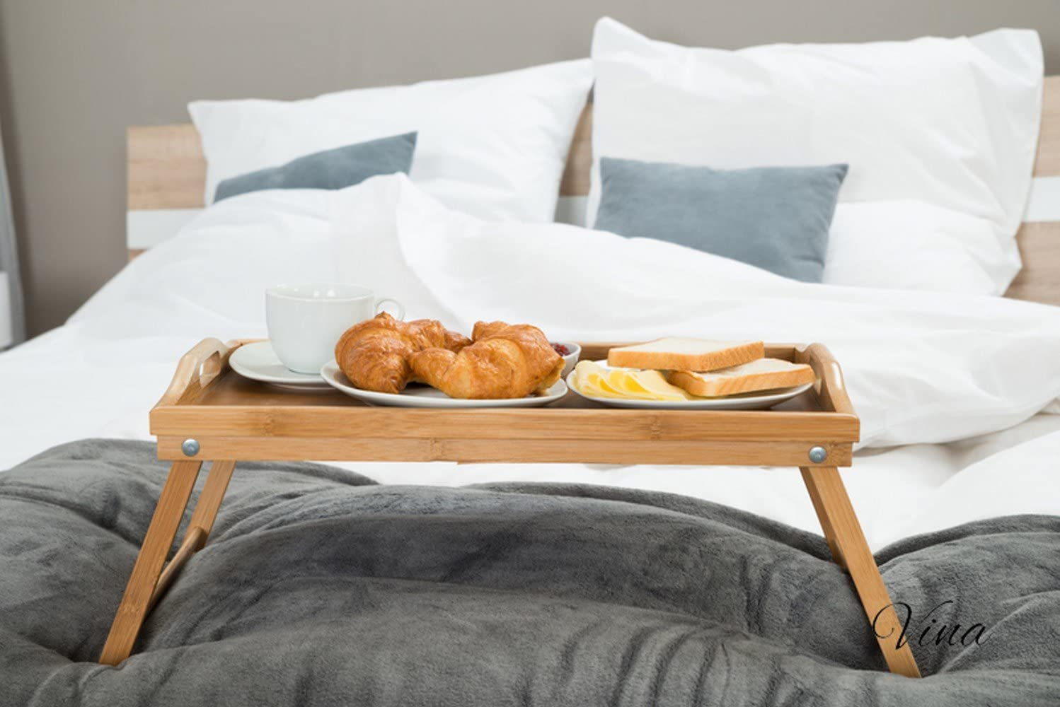 Vina Bamboo Bed Breakfast Tray Table Both and Challenge the lowest price of Japan ☆ Legs Folding with Max 76% OFF