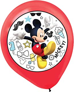 """Amscan 110424 Disney""""Mickey On The Go"""" Color Printed Latex Balloons, 5 Ct, Party Favor, Red, One Size"""