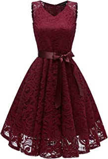 Avril Dress Princess Floral Lace Dress V-Neck A-line Bridesmaid Party Cocktail Prom Dress