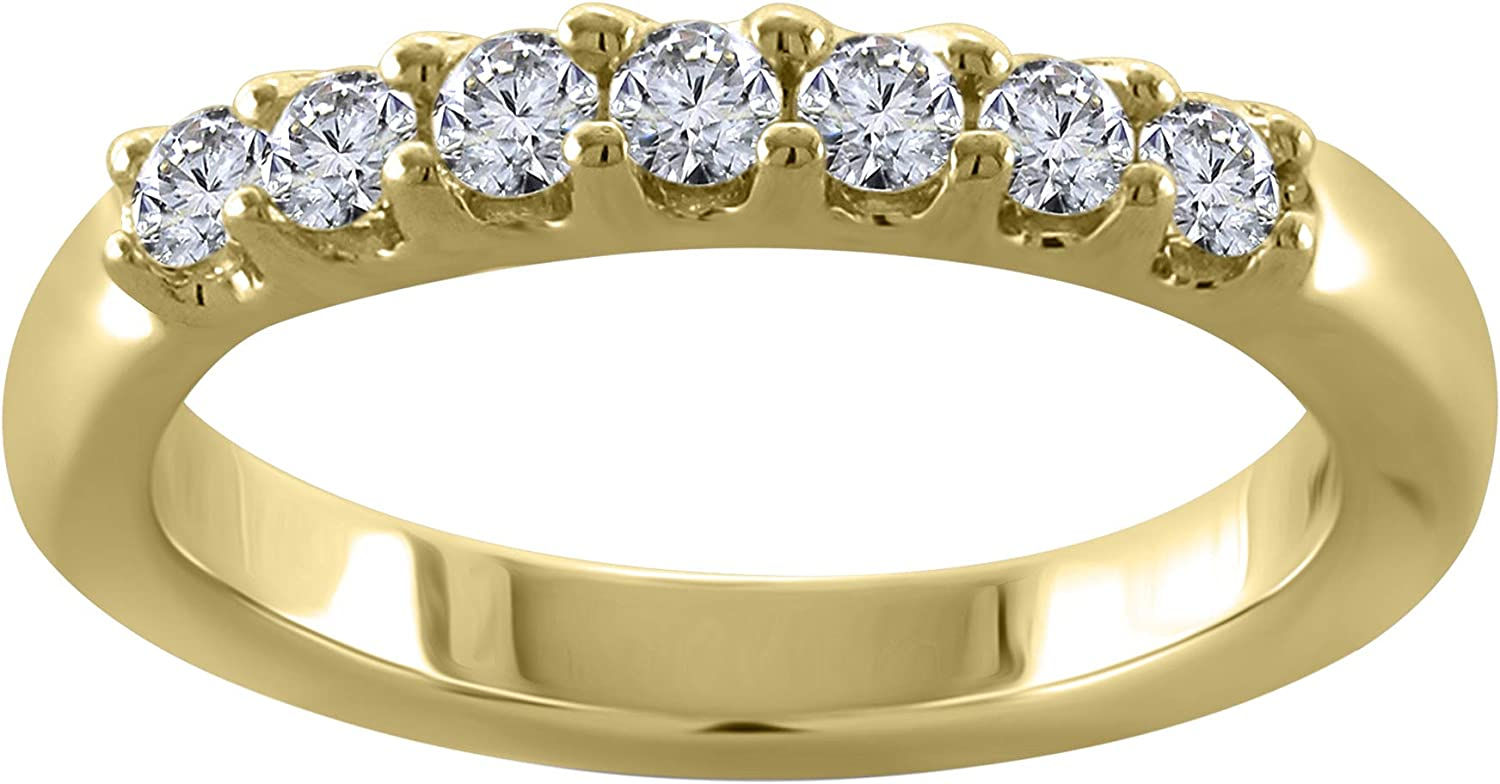 14KT Gold Round New popularity Cut Engagement Super sale Ring Wedding Half Band Eternity