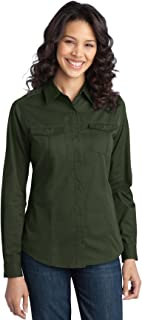 Port Authority Women's StainResistant Roll Sleeve Twill Shirt