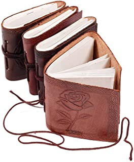 Handmade Leather Set of 4 Mini Scrapbook Sketchbook Personal Notebook Blank Unlined Diary for Office||Artist|| Architect R...