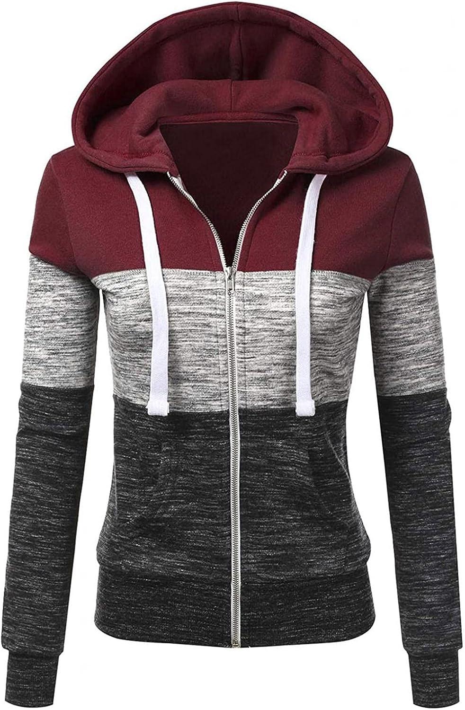 Hoodies for Women Casual Zip Up Long Sleeve Top Trendy Winter Stripe Blouse Loose Fit Pullover Sweatshirt