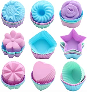 To encounter 36 Pack Silicone Cupcake Baking Cups Non Stick Muffin Liners 9 Shapes Reusable Silicone Cake Molds Easy Clean...