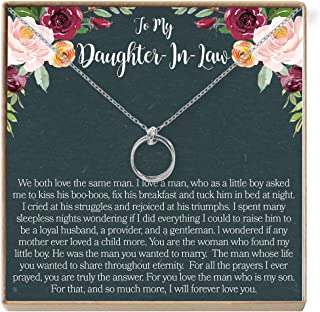 Dear Ava Daughter-in-Law Gift Necklace: Wedding Gift, Jewelry from Mother-in Law, 2 Linked Circles