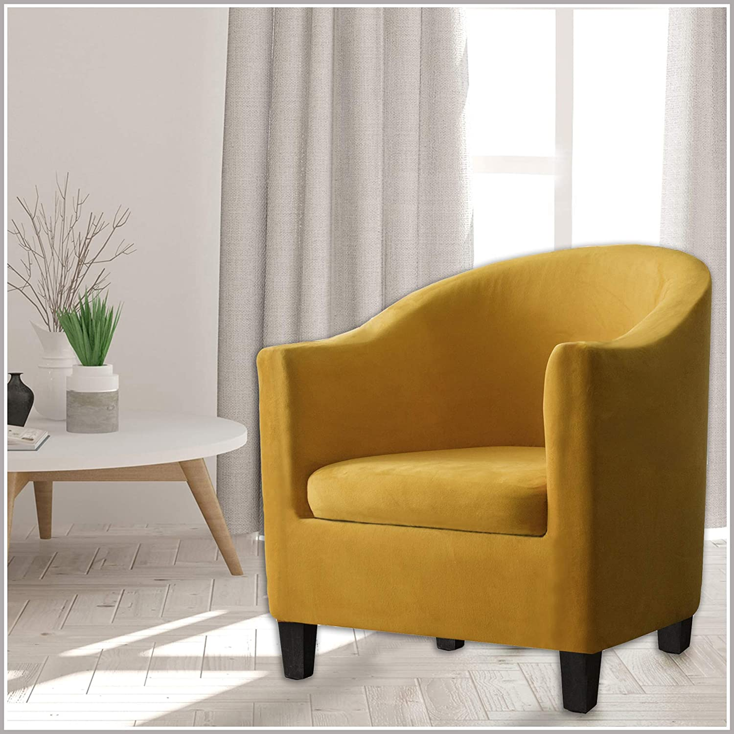 Camel,1 SHENGYIJING 2 Piece Velvet Tub Chair Covers for Armchairs,Spandex Tub Chair Slipcovers,Stretch Tub Chair Slipcover Furniture Protector Cover Sofa Slipcover for Tub Chair