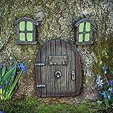 Bits and Pieces - Jardín de hadas en miniatura que brilla en la oscuridad, puerta para dormir y ventanas, estatuas de árbol, jardín de hadas y esculturas de jardín de hadas Gnomo de casa