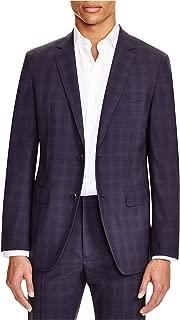 Mens Tonal Plaid Two Button Blazer Jacket