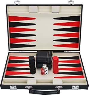 KAILE Backgammon Set with Travel Leatherette Carrying Case for Kids and Adults Black and Red Backgammon Set with Travel Leatherette Carrying Case for Kids and Adult