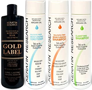Gold Label Professional Results Brazilian Keratin Blowout Hair Treatment Enhanced Specifically Designed for Coarse Curly Black African Dominican Brazilian Hair 240ml Large Set