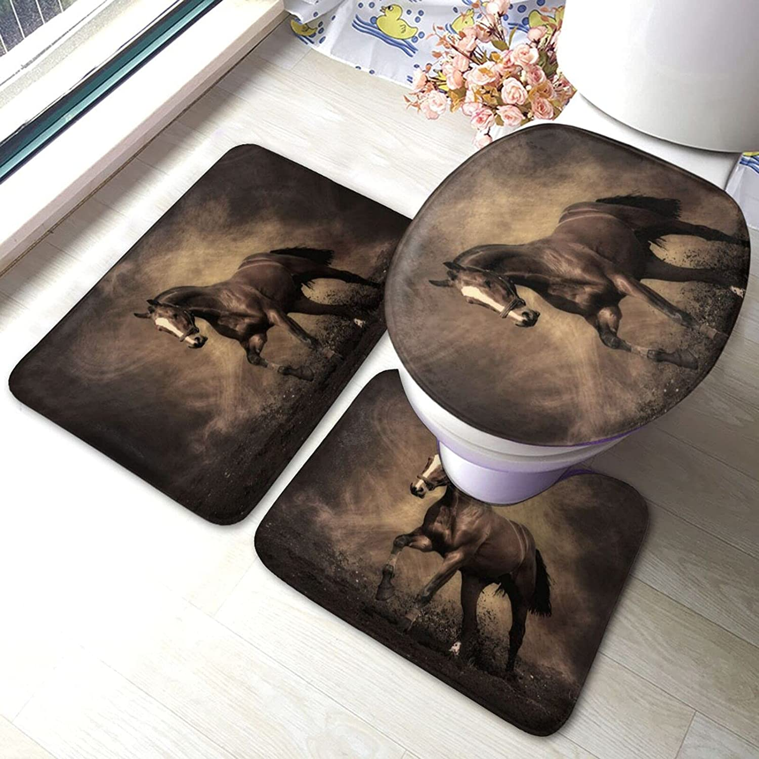 Horse Bathroom Antiskid Year-end gift Department store Pad 3 Piece Bath Rugs Set Sets Mats