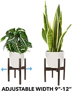"""Oak & Boo Adjustable Plant Stand Mid Century Modern for Indoor Outdoor Planters 100% Bamboo Wood – Adjustable Width 9"""" to 12"""" Fits Tall and Large Pots (Planter Pot Not Included)"""