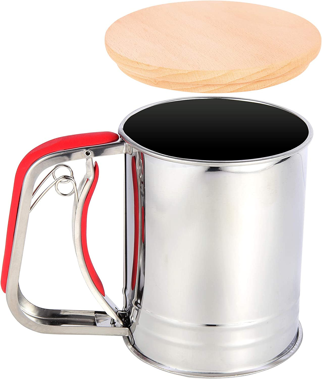 YongLy 3 Cup Flour Sifter Stainless Steel Baking Seive Cup with Wooden Lip Easy Storage (Red)