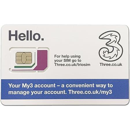 Three UK プリペイド シムカード ヨーロッパ用 12GB ヨーロッパ、アジア、アメリカ使用可能