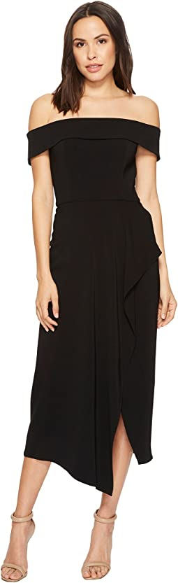 Laundry by Shelli Segal Off the Shoulder Crepe Midi Dress with Front Cascading Ruffle Slit