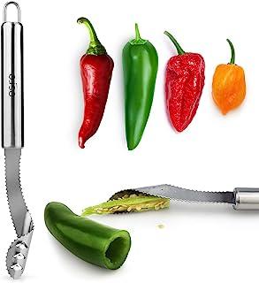 ESRE Stainless Steel Pepper Core Remover ، Jalapeno Pepper Corer Tool Chili Deseeder ، Sharp Edge Kitchen Gadget Sever Remover ماشین ظرفشویی ایمن ، برش بالای سبزیجات برای کباب