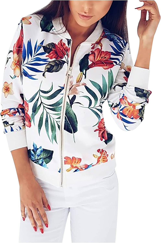 MINEMIN Cropped Jacket Women Casual Long Sleeve Zipper Short Jackets Coat Outwear
